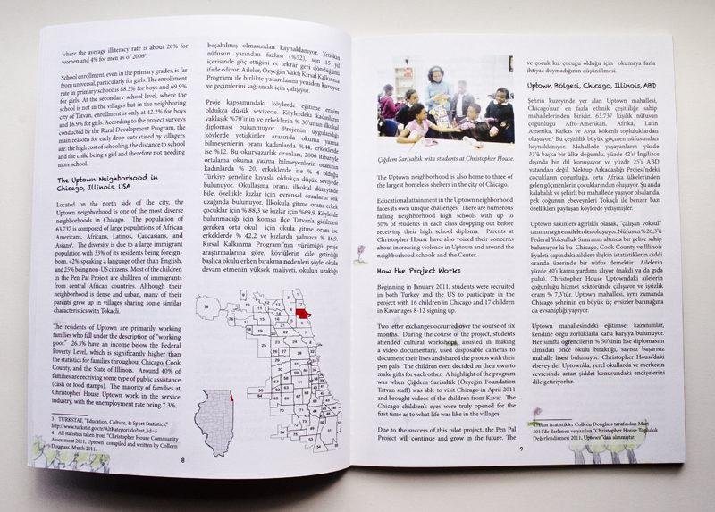 Kopru: Chicago-Kavar Pen Pal Project. Book Design. Interior Pages.