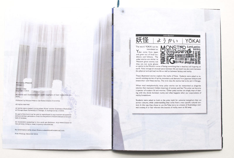 Chicago Yokai. A Student Anthology. Interior Page Design.